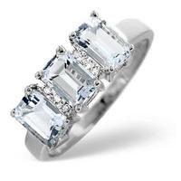 Aquamarine 1.65CT And Diamond 9K White Gold Ring