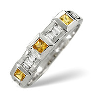 Yellow Sapphire And 0.20CT Diamond Ring 9K White Gold