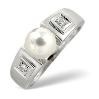 Pearl 2.20CT And Diamond 9K White Gold Ring