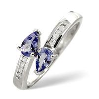 Tanzanite 0.38CT And Diamond 9K White Gold Ring