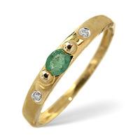 Emerald And 0.02CT Diamond Ring 9K Yellow Gold