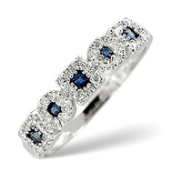 Sapphire 0.18ct And Diamond 9K White Gold Ring
