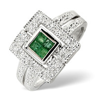 Emerald 0.11ct And Diamond 9K White Gold Ring