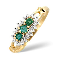Emerald 0.27ct And Diamond 9K Gold Ring