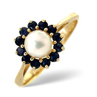 Pearl And Sapphire 9K Gold Ring