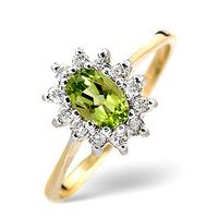 Peridot 6 x 4mm And Diamond 9K Yellow Gold Ring