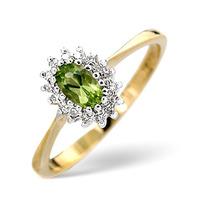 Peridot 5 x 3mm And Diamond 9K Yellow Gold Ring