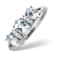 Aquamarine 0.80CT And Diamond 9K White Gold Ring