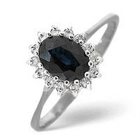 Sapphire 0.95ct And Diamond 9K White Gold Ring
