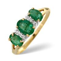 Emerald And 0.03CT Diamond Ring 9K Yellow Gold