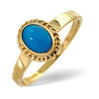 Turquoise 0.56CT 9K Yellow Gold Ring