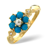 Turquoise 0.30ct And Pearl 9K Yellow Gold Ring