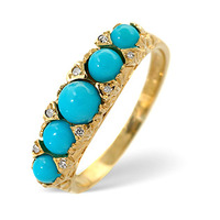Turquoise 0.61CT And Diamond 9K Yellow Gold Ring