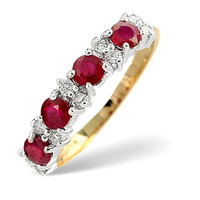 Ruby 0.78ct And Diamond 9K Gold Ring