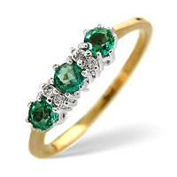 Emerald 0.45ct And Diamond 9K Gold Ring