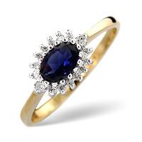 Sapphire 6 x 4mm And Diamond Ring 9K Yellow Gold