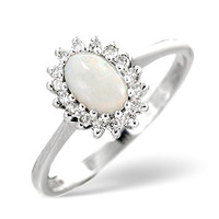 Opal 6 x 4mm And Diamond 18K White Gold Ring