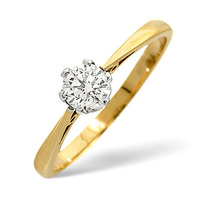 Solitaire Ring 0.35CT Diamond 9K Yellow Gold