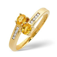9K Gold Channel Set Diamond and Yellow Sapphire Crossover Ring