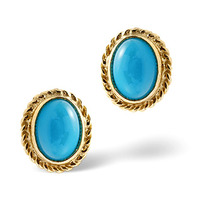 Turquoise 7 x 5 mm 9K Yellow Gold Earrings