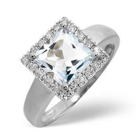 Aquamarine 1.42CT And Diamond 9K White Gold Ring