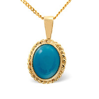 Turquoise 9 x7mm 9K Yellow Gold Pendant
