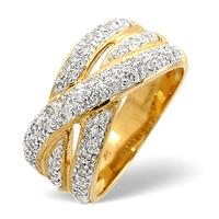 Wide Ring 0.50CT Diamond 9K Yellow Gold