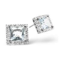 Aquamarine 1.90CT And Diamond 9K White Gold Earrings