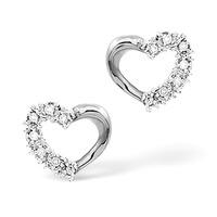 Diamond Claw Set Heart Earrings 18K White Gold