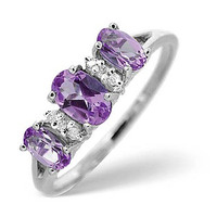 Amethyst 0.76ct And Diamond 9K White Gold Ring
