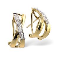 Cross-Over Earrings 0.08ct Diamond 9K Yellow Gold