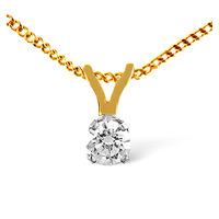 Solitaire Pendant 0.25CT Diamond 9K Yellow Gold