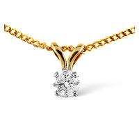 Solitaire Pendant 0.10CT Diamond 9K Yellow Gold