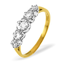 Grace 18K Gold 5 Stone Diamond Eternity Ring 0.75CT
