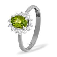 Peridot 7 x 5mm And Diamond 9K White Gold Ring