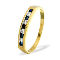 Sapphire And 0.09CT Diamond Ring 9K Yellow Gold