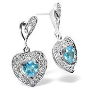 Blue Topaz 0.59CT And Diamond 9K White Gold Earrings