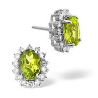 Peridot 6mm And Diamond 9K White Gold Earrings