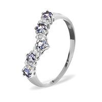 Diamond and Tanzanite 0.35CT Wishbone Ring in 9K White Gold