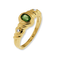 9K Gold Diamond And Emerald Ring