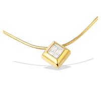 9K Gold Princess Diamond Slider Necklace (0.25CT)