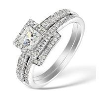 2 Ring Bridal Set 1ct G/Vs1 Diamonds and  18K White Gold