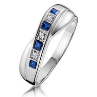 Sapphire 0.45ct And Diamond 9K White Gold Ring