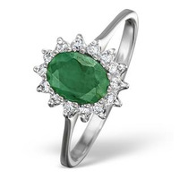 Emerald 0.83ct And Diamond 9K White Gold Ring