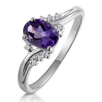 Amethyst 0.68ct And Diamond 18K White Gold Ring