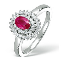Ruby 6 x 4mm And Diamond 9K White Gold Ring