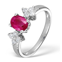 Ruby 0.90ct And Diamond 9K White Gold Ring