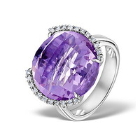 Amethyst 16.10ct And Diamond 9K White Gold Ring
