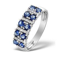Sapphire 0.99ct And Diamond 9K White Gold Ring