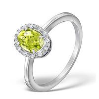 Peridot 8 x 10mm And Diamond Ring 9K White Gold